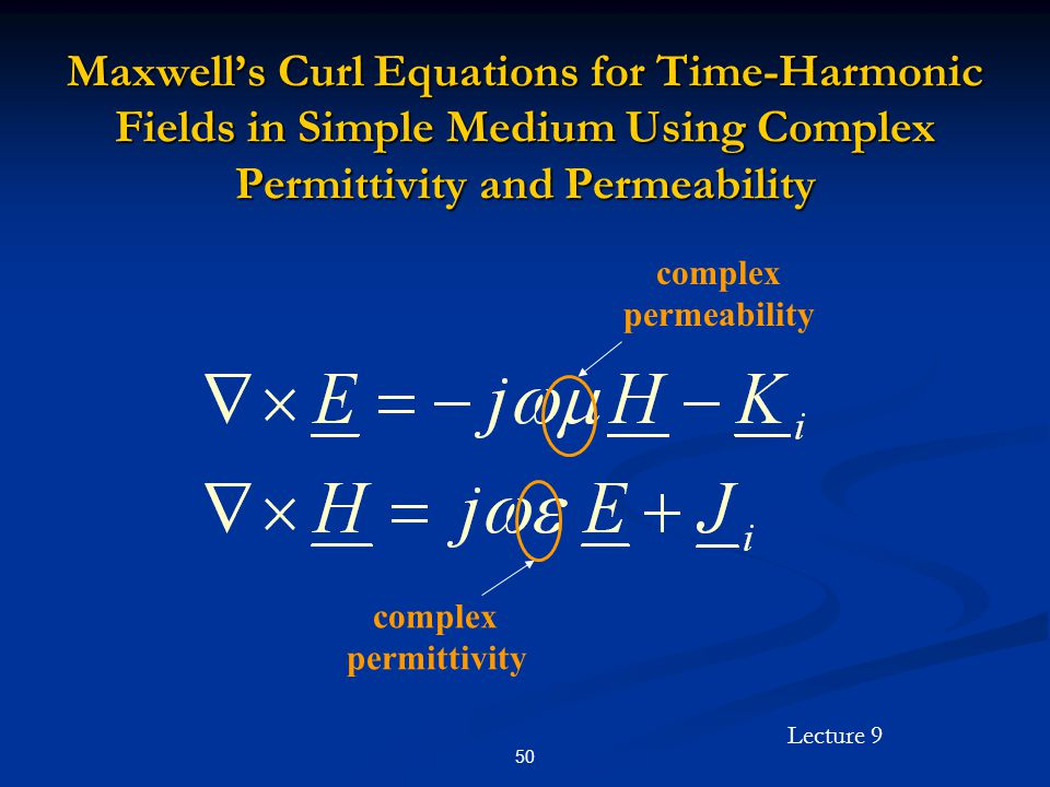Maxwell's Curl Equations for Time-Harmonic Fields in Simple Medium Using Complex Permittivity and Permeability