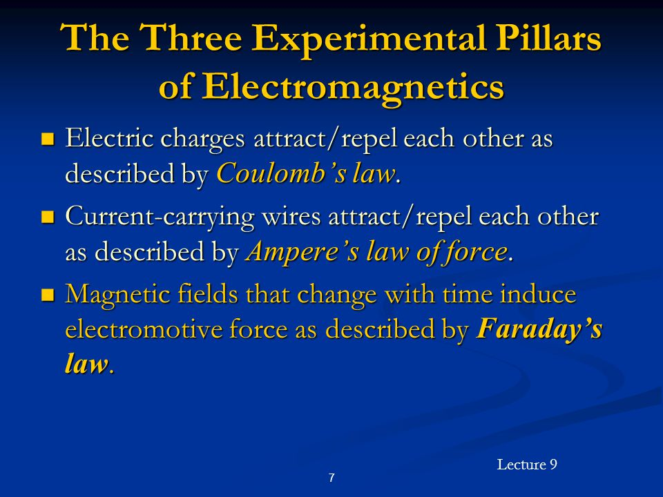 The Three Experimental Pillars of Electromagnetics