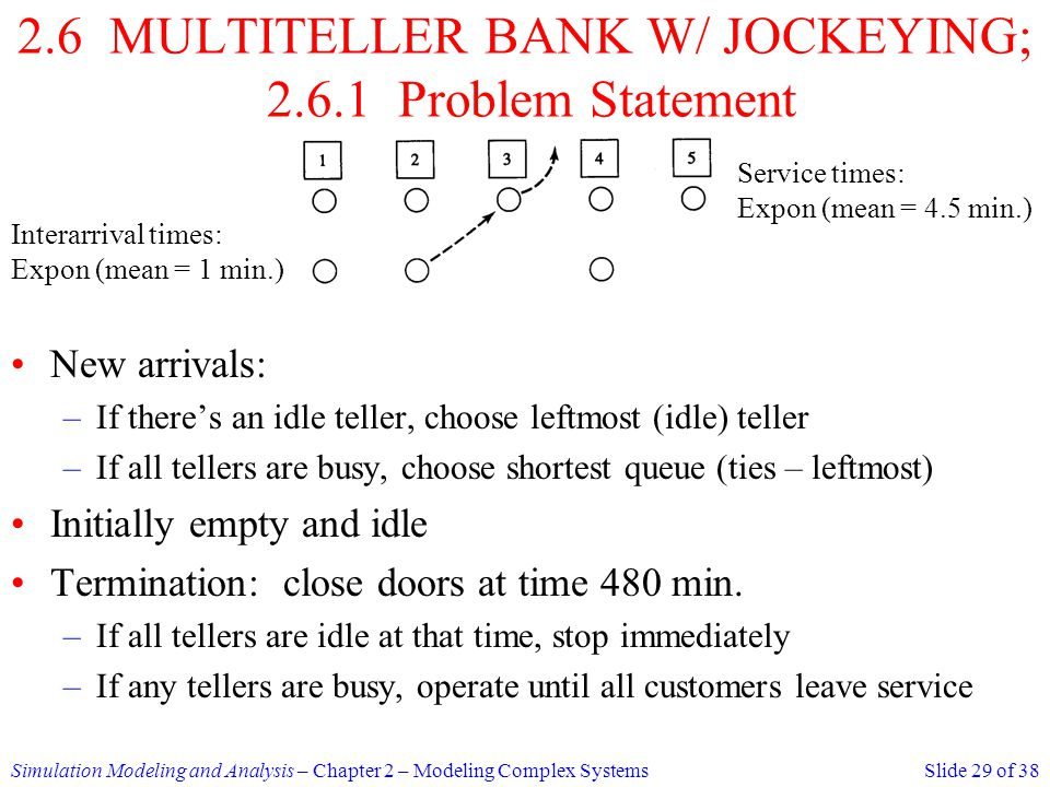 2.6 MULTITELLER BANK W/ JOCKEYING; Problem Statement