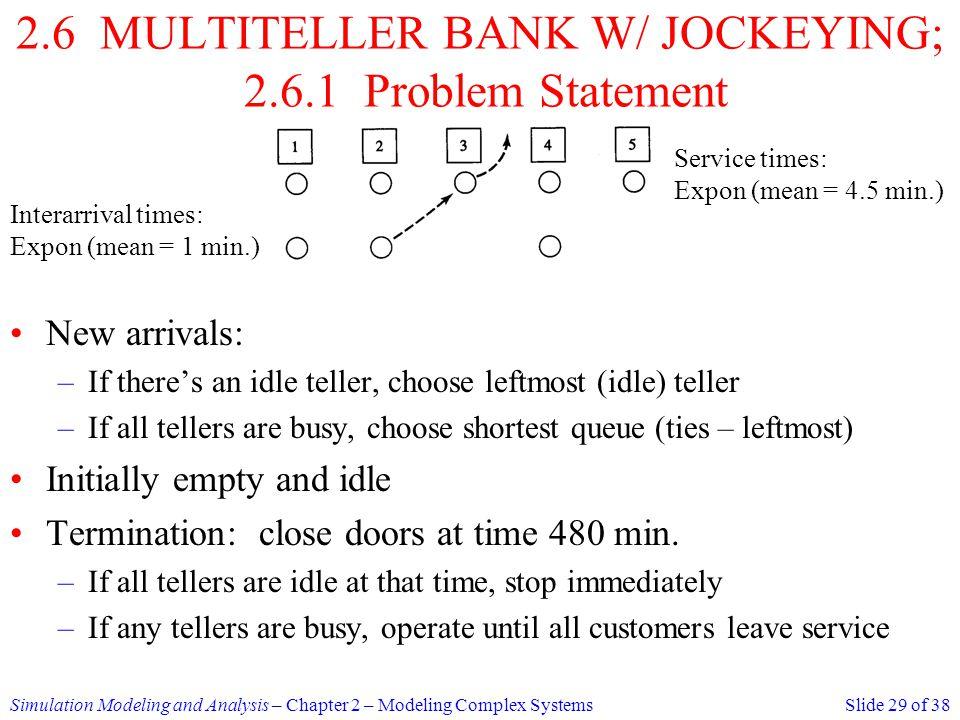 2.6 MULTITELLER BANK W/ JOCKEYING; 2.6.1 Problem Statement