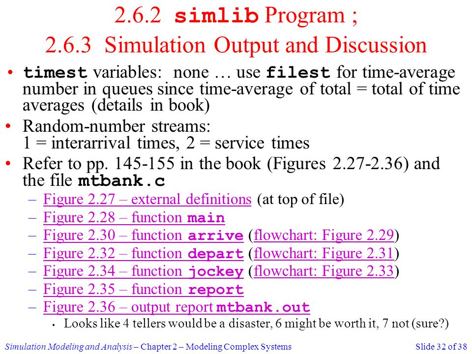 2.6.2 simlib Program ; 2.6.3 Simulation Output and Discussion