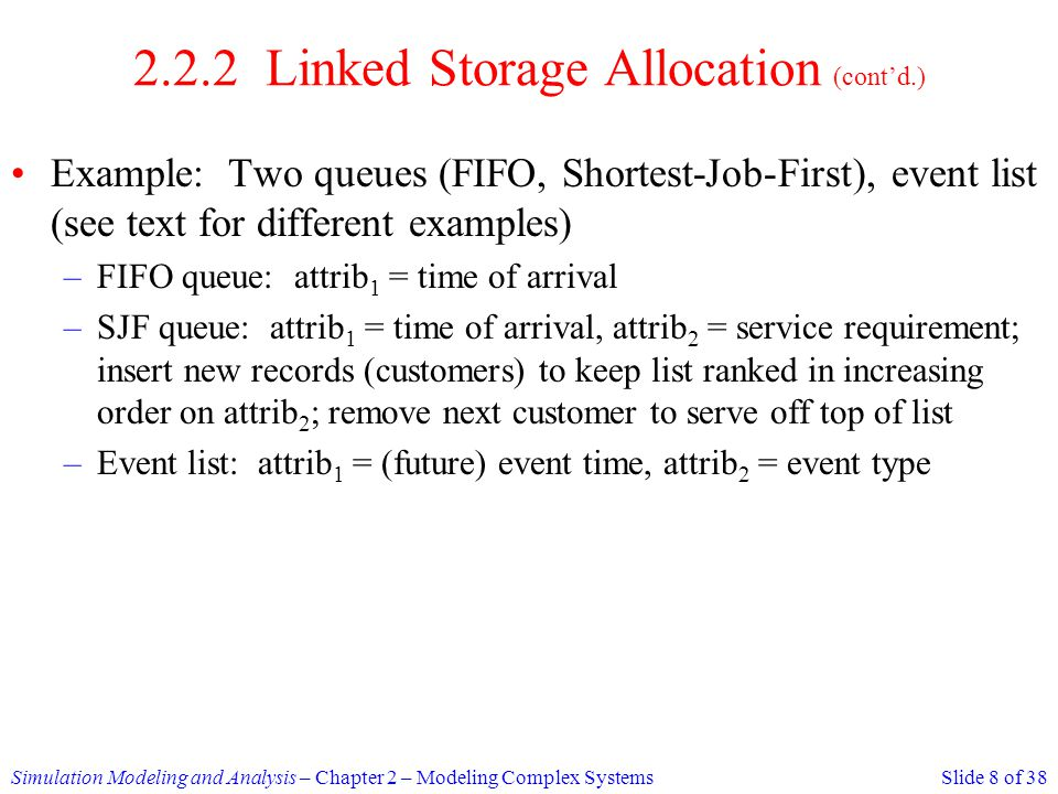2.2.2 Linked Storage Allocation (cont'd.)