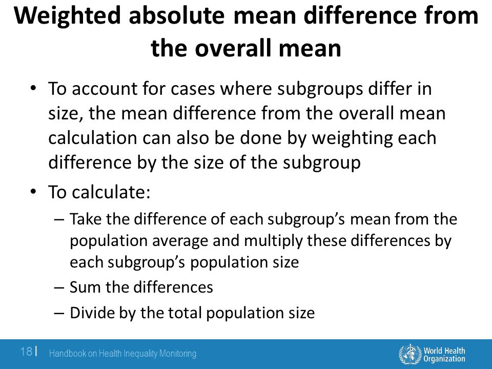 Weighted absolute mean difference from the overall mean
