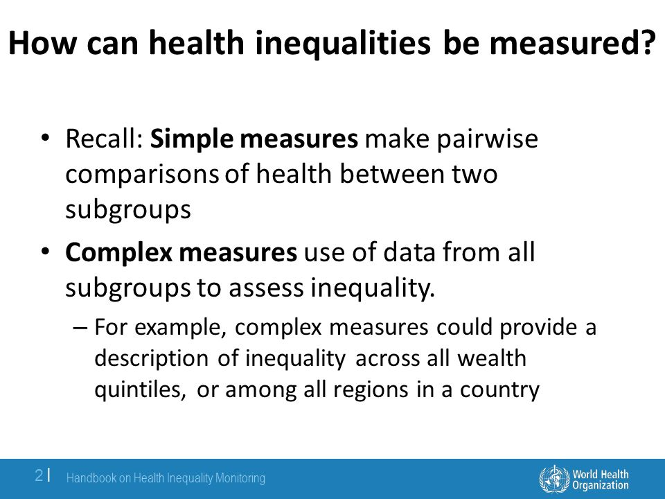 How can health inequalities be measured