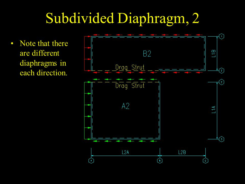 Subdivided Diaphragm, 2 Note that there are different diaphragms in each direction.