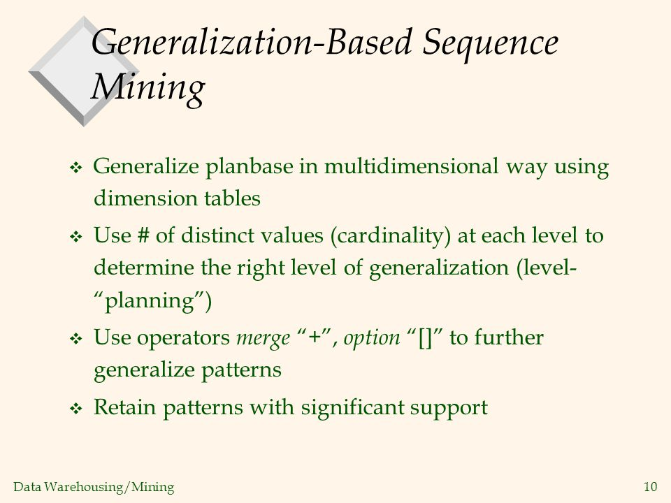 Generalization-Based Sequence Mining