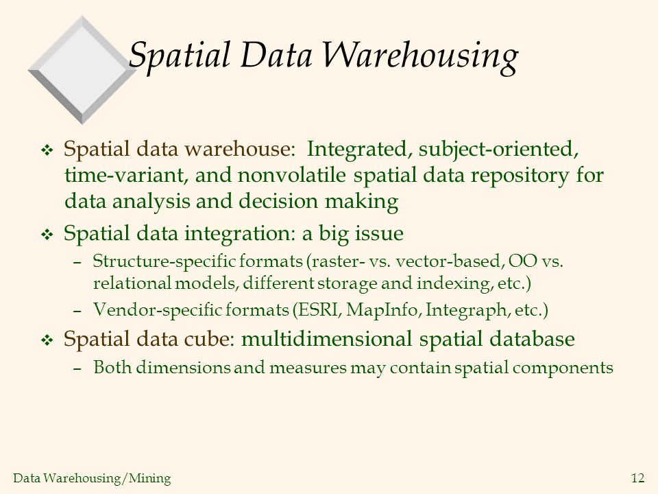 Spatial Data Warehousing