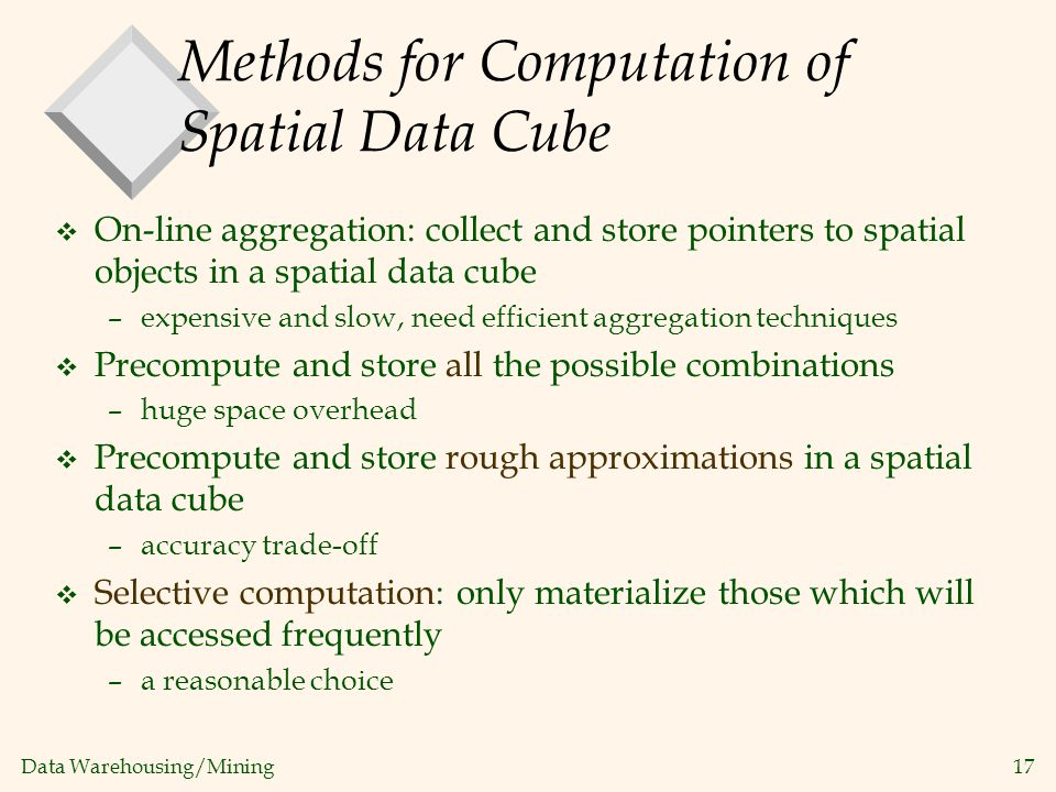 Methods for Computation of Spatial Data Cube