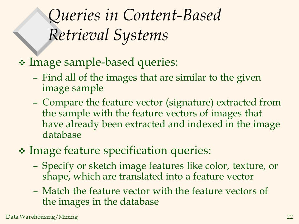 Queries in Content-Based Retrieval Systems