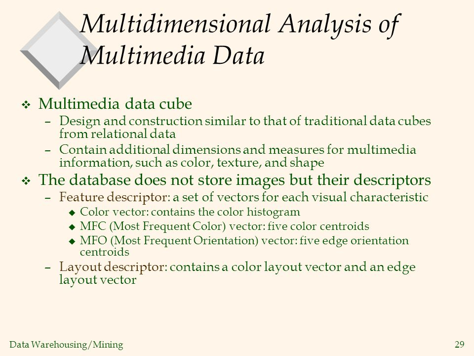 Multidimensional Analysis of Multimedia Data