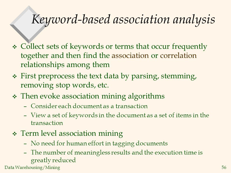 Keyword-based association analysis