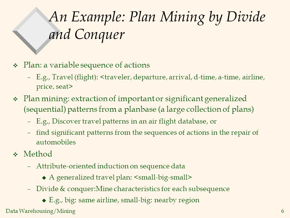 An Example: Plan Mining by Divide and Conquer