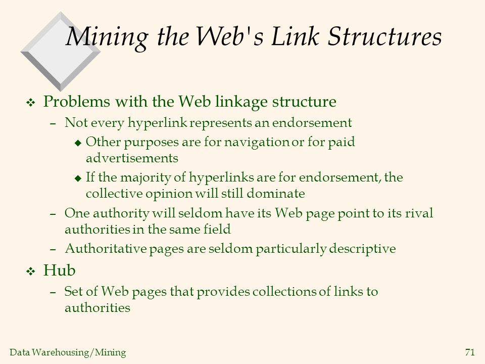 Mining the Web s Link Structures
