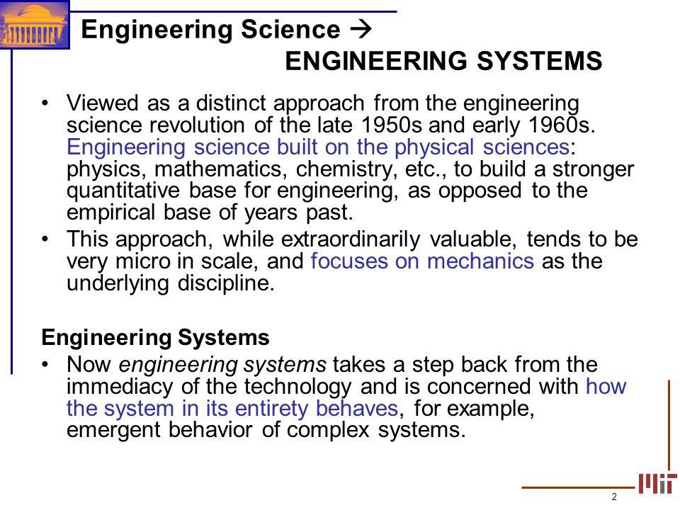 Engineering Science  ENGINEERING SYSTEMS