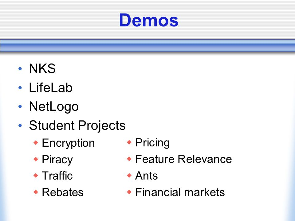 Demos NKS LifeLab NetLogo Student Projects Encryption Piracy Pricing