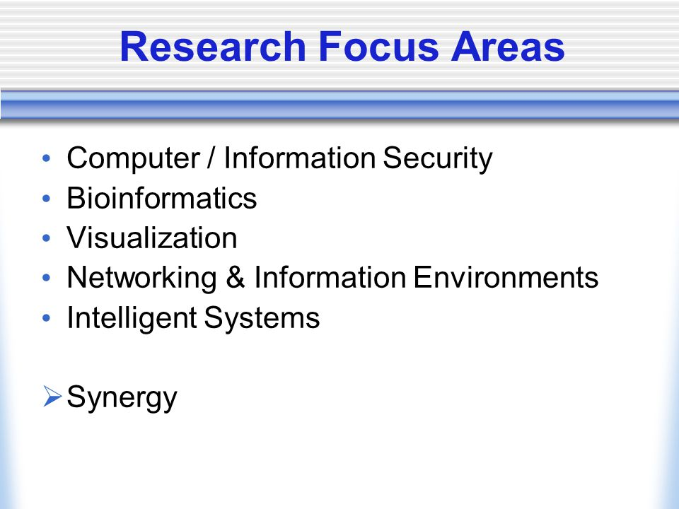 Research Focus Areas Computer / Information Security Bioinformatics