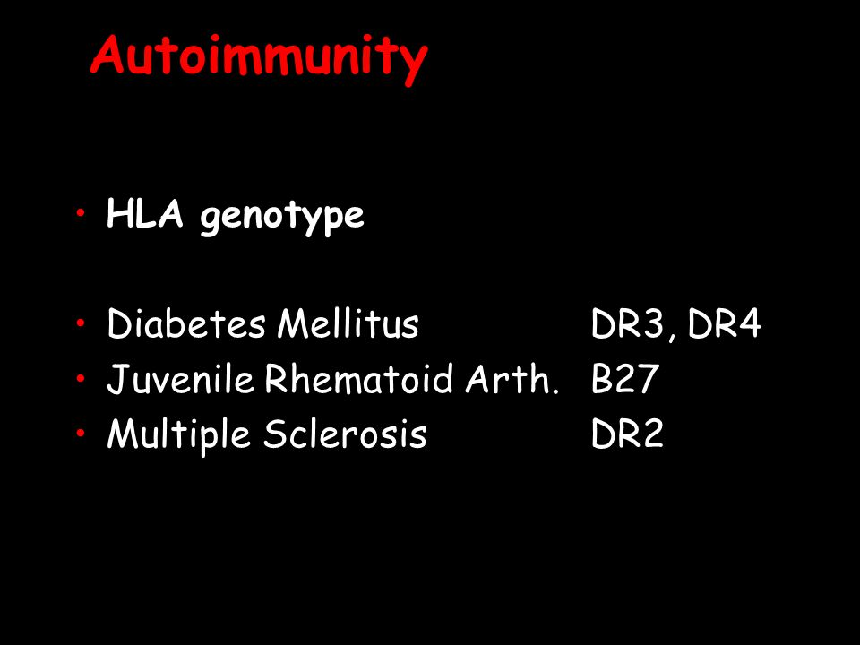 Autoimmunity HLA genotype Diabetes Mellitus DR3, DR4