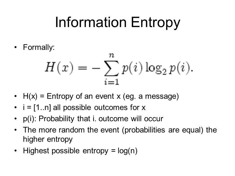 Information Entropy Formally: