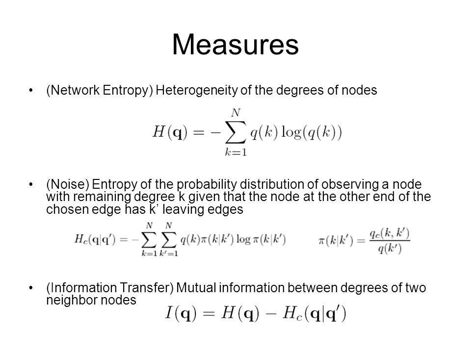 Measures (Network Entropy) Heterogeneity of the degrees of nodes