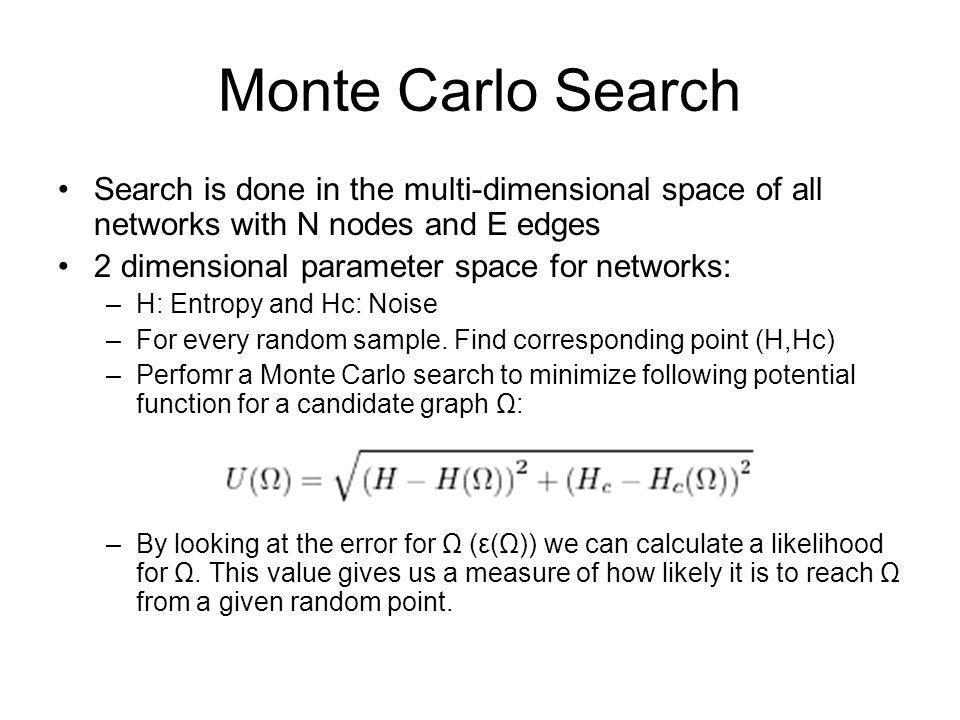Monte Carlo Search Search is done in the multi-dimensional space of all networks with N nodes and E edges.