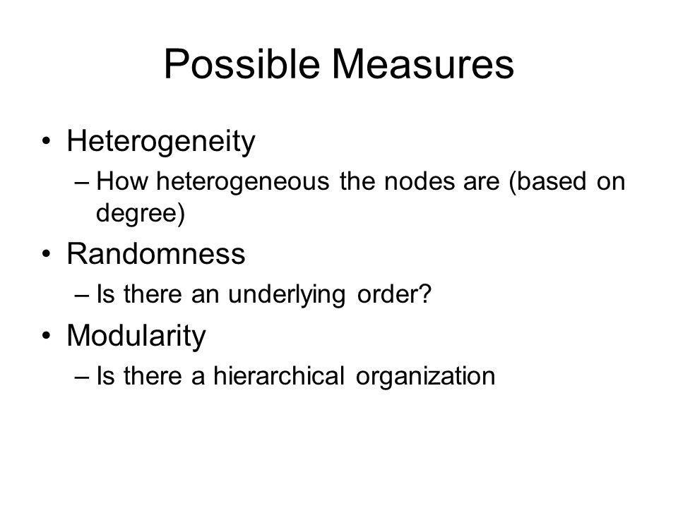 Possible Measures Heterogeneity Randomness Modularity