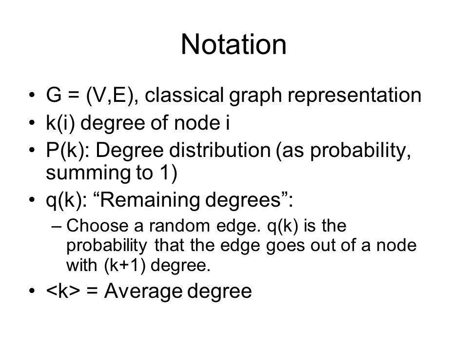 Notation G = (V,E), classical graph representation