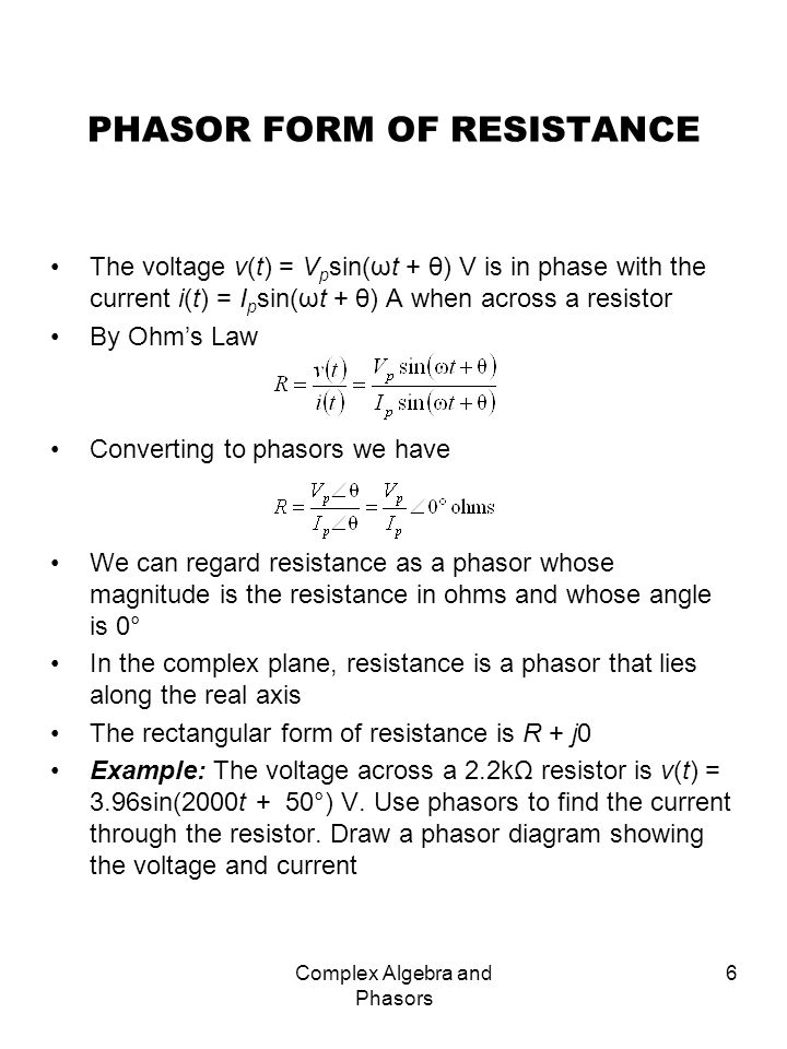 PHASOR FORM OF RESISTANCE