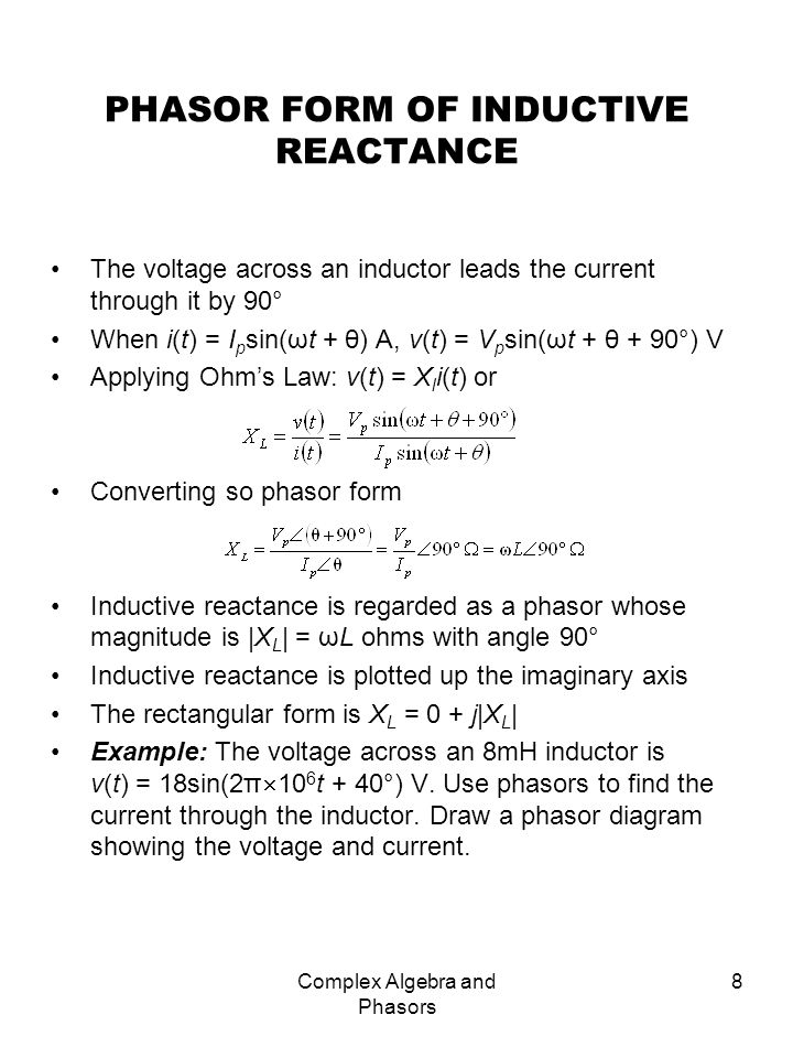 PHASOR FORM OF INDUCTIVE REACTANCE