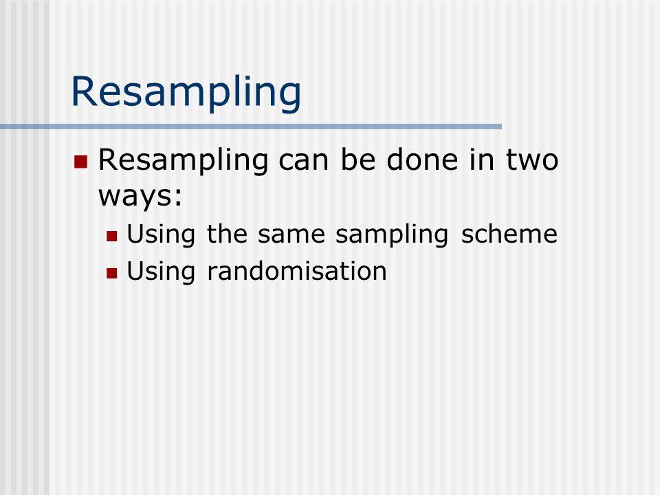 Resampling Resampling can be done in two ways: