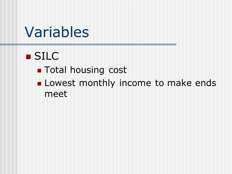 Variables SILC Total housing cost