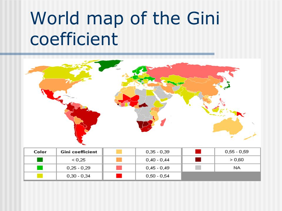 World map of the Gini coefficient