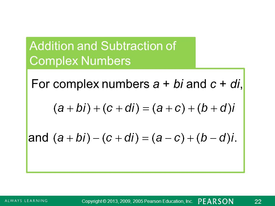 Addition and Subtraction of Complex Numbers