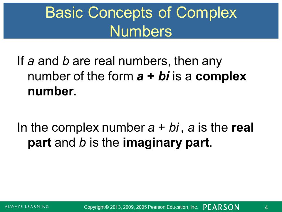 Basic Concepts of Complex Numbers