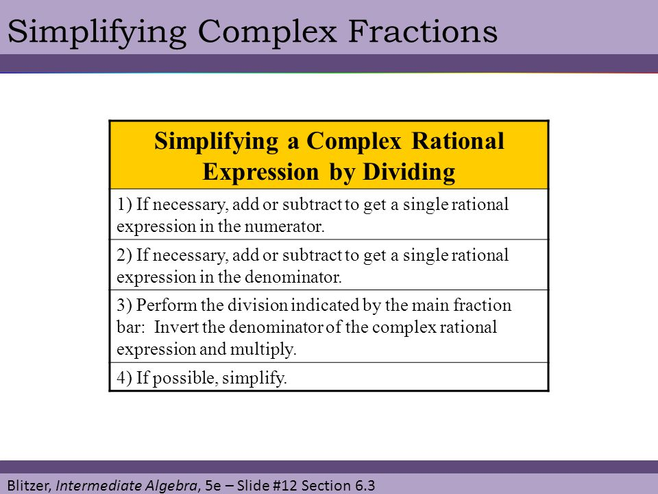 Simplifying a Complex Rational Expression by Dividing