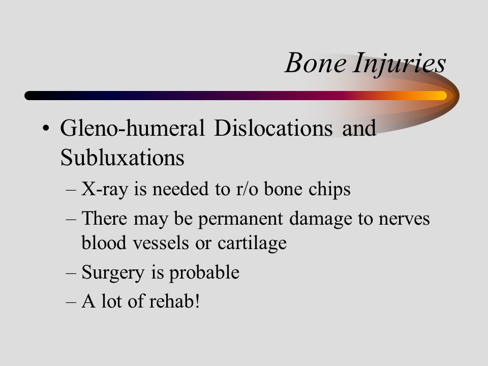Bone Injuries Gleno-humeral Dislocations and Subluxations