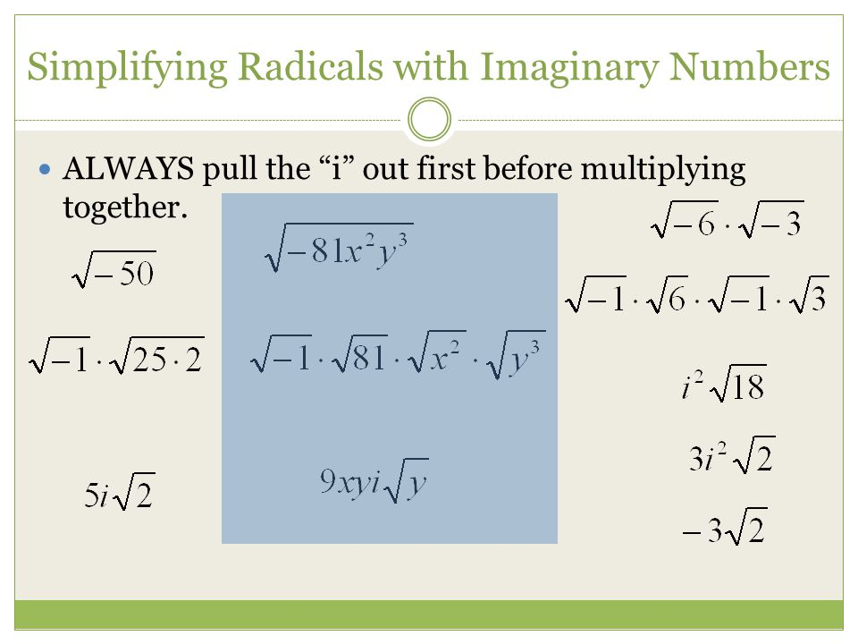 Simplifying Radicals with Imaginary Numbers