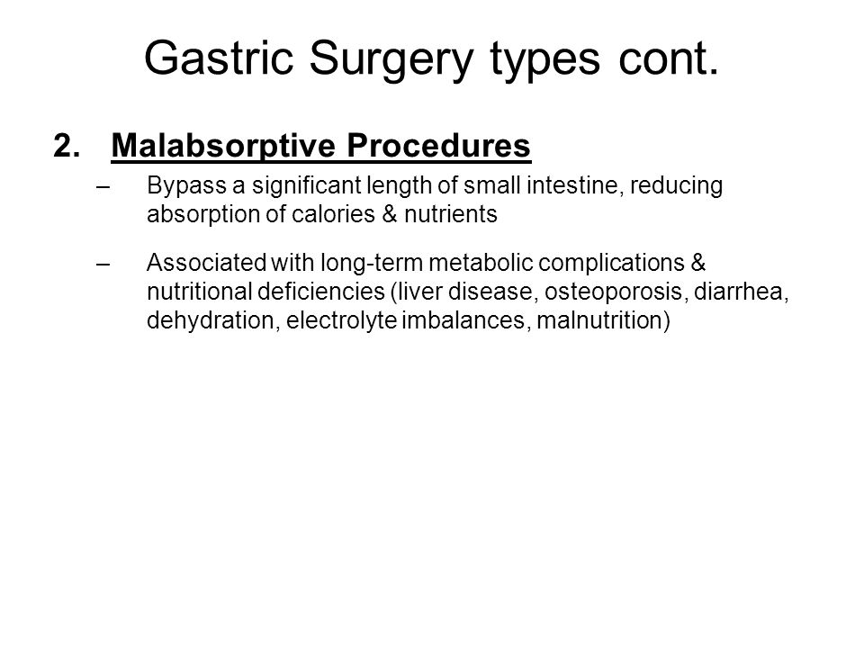 Gastric Surgery types cont.