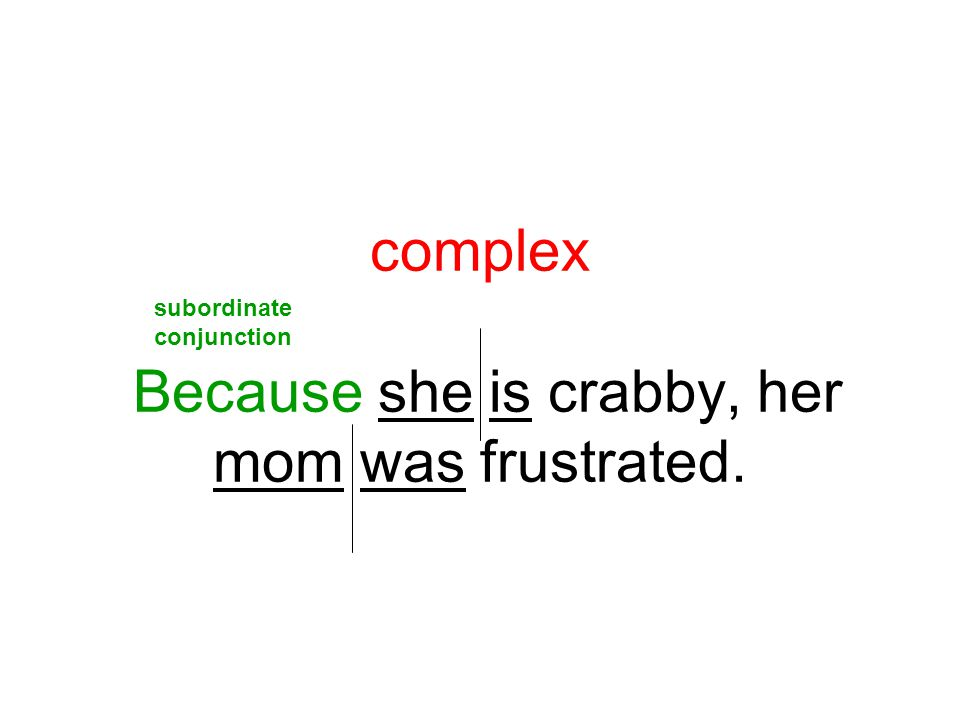complex Because she is crabby, her mom was frustrated.