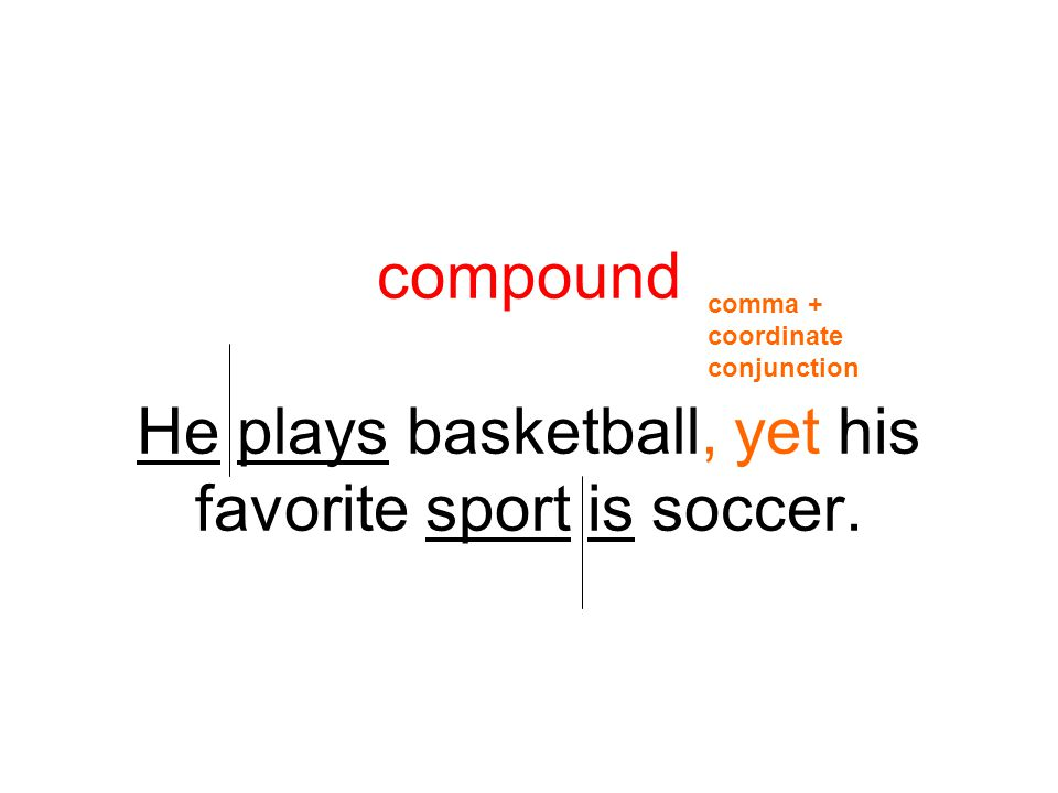 compound He plays basketball, yet his favorite sport is soccer.