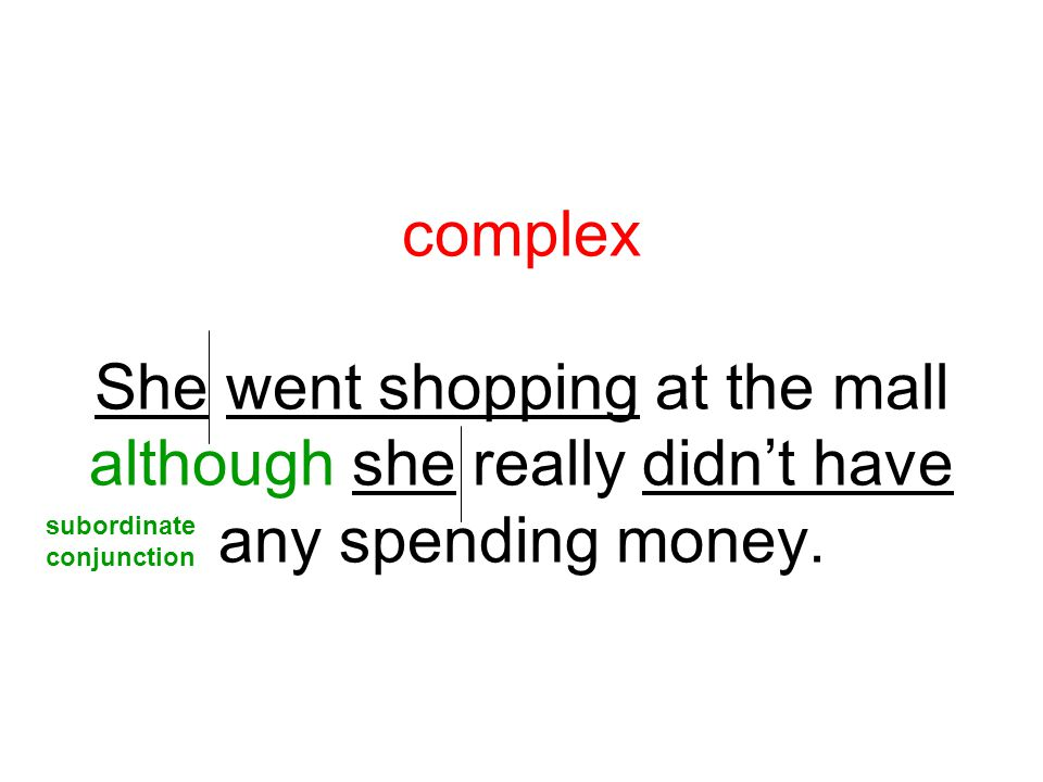 complex She went shopping at the mall although she really didn't have any spending money.