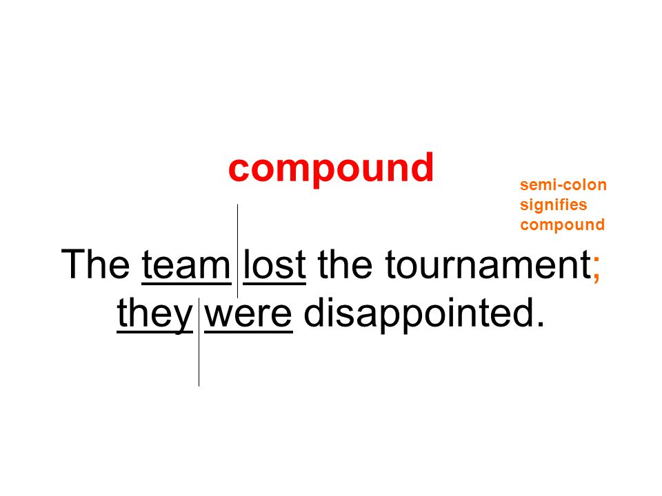 compound The team lost the tournament; they were disappointed.