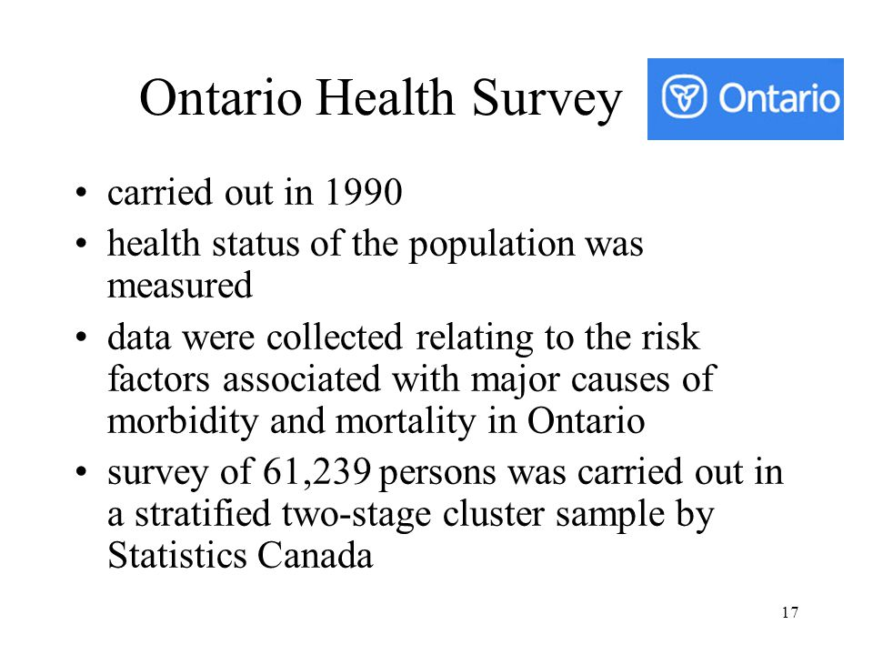Ontario Health Survey carried out in 1990
