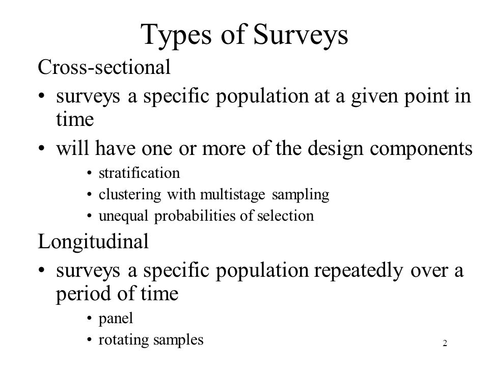 Types of Surveys Cross-sectional