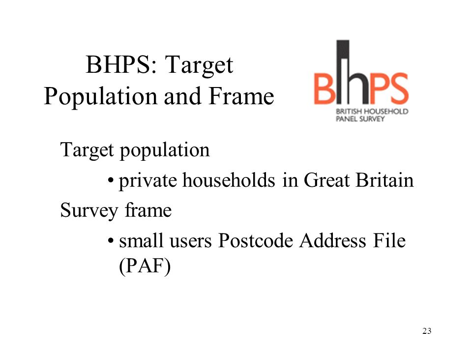 BHPS: Target Population and Frame