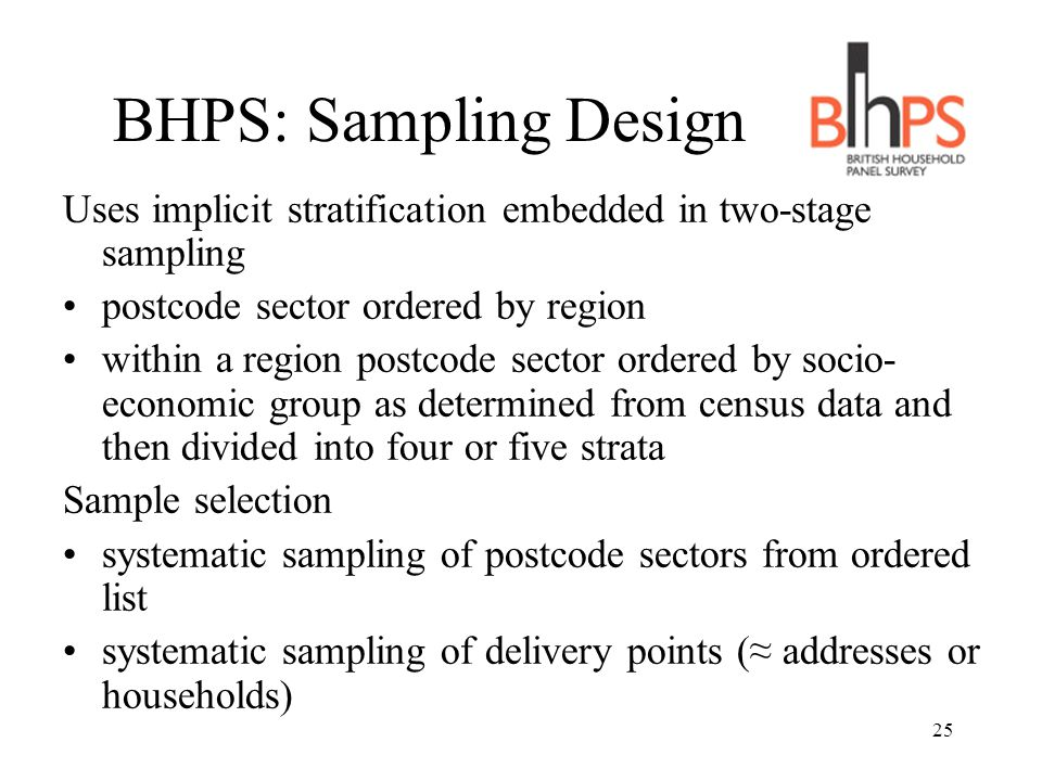 BHPS: Sampling Design Uses implicit stratification embedded in two-stage sampling. postcode sector ordered by region.