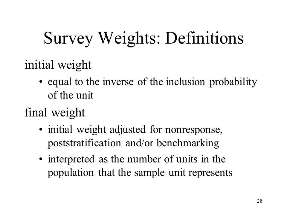 Survey Weights: Definitions