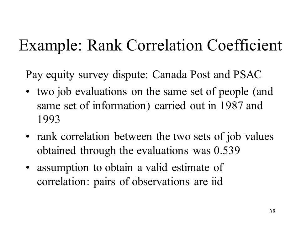Example: Rank Correlation Coefficient