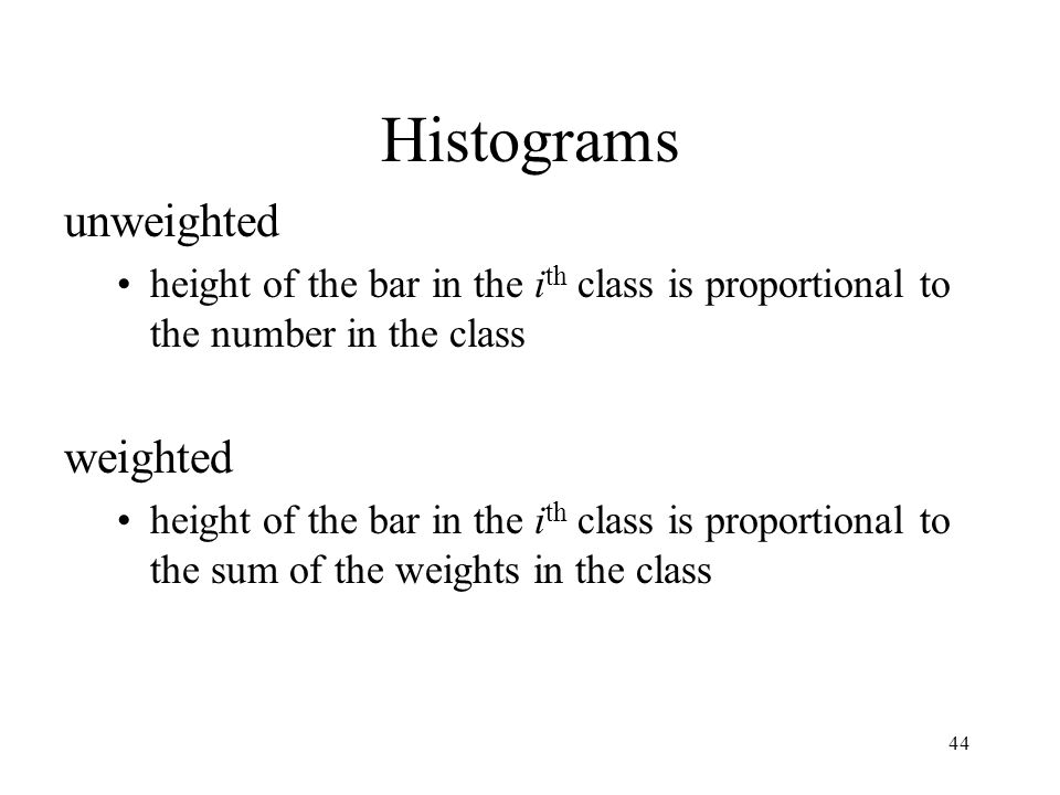Histograms unweighted weighted