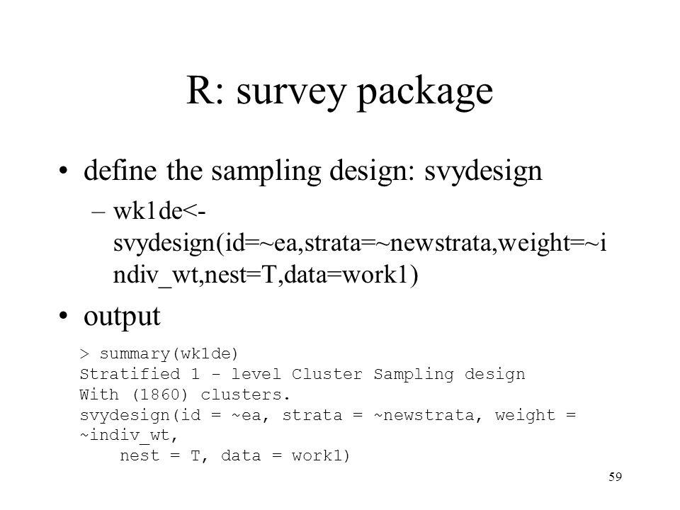 R: survey package define the sampling design: svydesign output