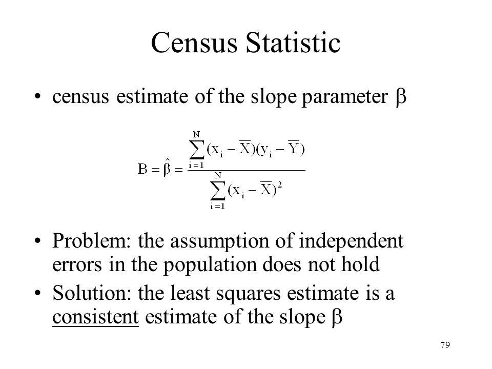 Census Statistic census estimate of the slope parameter 